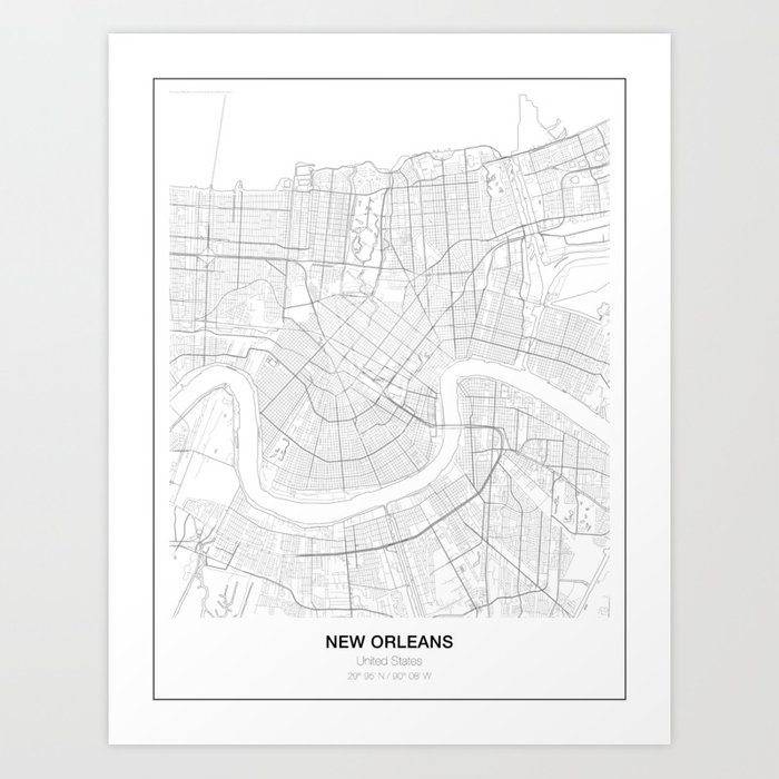 New Orleans In Usa Map.New Orleans United States Minimalist Map Art Print By Resfeber