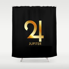Zodiac and astrology symbol of the planet Jupiter in gold colors Shower Curtain