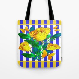 YELLOW SPRING ROSES & BUTTERFLIES WITH LILAC STRIPES Tote Bag
