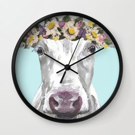 Cute Cow Up Close, Flower Crown Cow Wall Clock