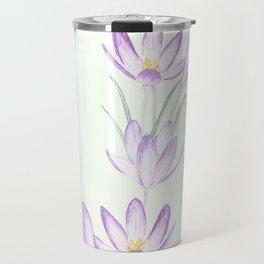 purple botanical crocus flowers Travel Mug