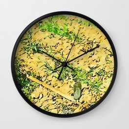 Hortus Conclusus: potatoes and hoe in the vegetable garden Wall Clock