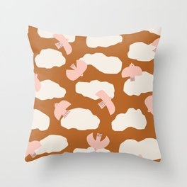 Soaring   Pink On Rust Throw Pillow