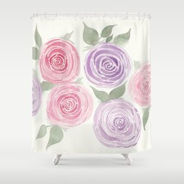Pink and Purple Garden Roses Shower Curtain