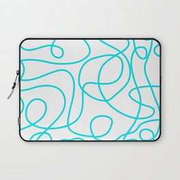Doodle Line Art | Bright Blue/Turquoise Lines on White Background Laptop Sleeve