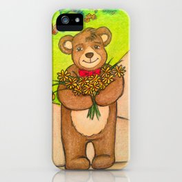 FLOWERS FOR YOU - Adorable Little Teddy Bear Flowers Floral Cute Colorful Original Illustration iPhone Case