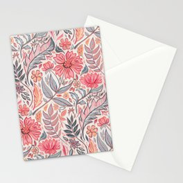 Melon Pink and Grey Art Nouveau Floral Stationery Cards