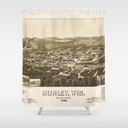 Aerial View of Hurley, Wisconsin (1886) Shower Curtain