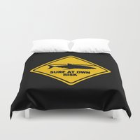 surfboard Duvet Covers featuring Yellow Shark Warning Sign Surf At Own Risk Surfboard by Rothko