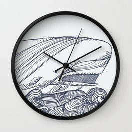 Moby Dick Whale Drawing Wall Clock