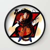 dbz Wall Clocks featuring DBZ - Goku by Mr. Stonebanks