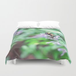 Bee in the Purple Flowers Duvet Cover