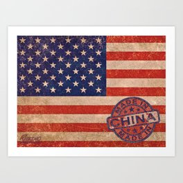 American Flag America USA US United States of America Patriotic Red White Blue Made In China Art Print
