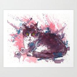 Cat painting, lavender colors, beautiful pet portrait Art Print