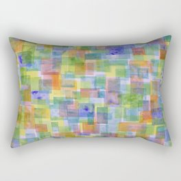 Vertical Bright Lightful Colorful Squares Pattern Rectangular Pillow