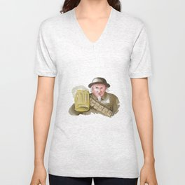 Uncle Sam WW1 Soldier Toasting Beer Watercolor Unisex V-Neck