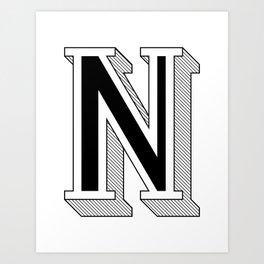 N – Black Art Print