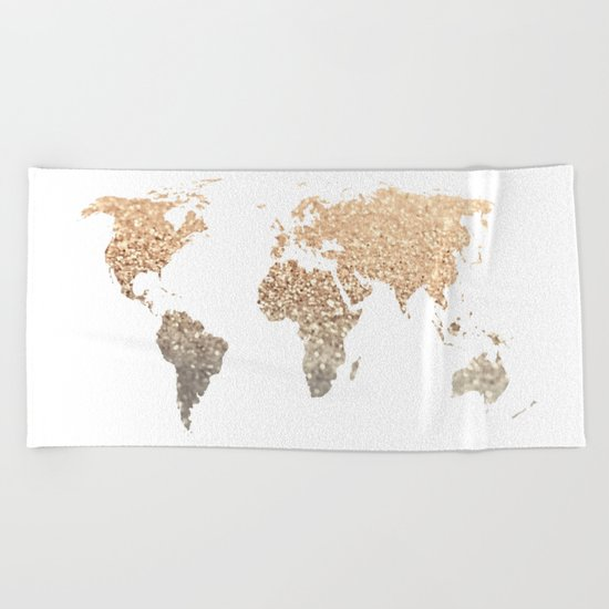 GOLD WORLD MAP Beach Towel