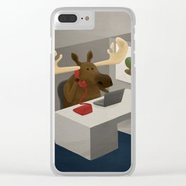 Maurice, the moose who wanted to work in an office Clear iPhone Case