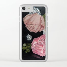 Rose, Rose Quartz, Crystals & Frog Prince Clear iPhone Case
