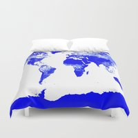 map of the world Duvet Covers featuring World map by Whimsy Romance & Fun