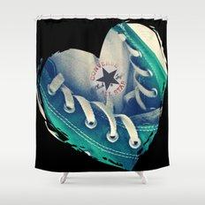 Converse Love in Black Shower Curtain