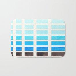 Cerulean Blue Watercolor Gouache Painting Geometric Square Pattern Matrix Bath Mat