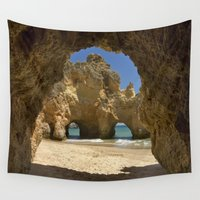 portugal Wall Tapestries featuring Caves at Alvor, Portugal by Michael Howard