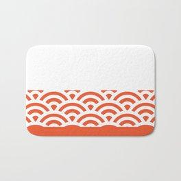 Rainbow Trim Bright Orange Bath Mat