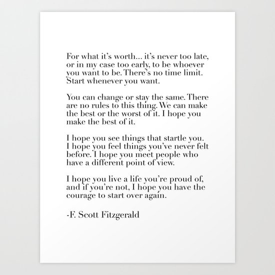for what it's worth - fitzgerald quote by typutopia