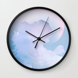 Dreamy Pastel Blue Sky with Moon Wall Clock