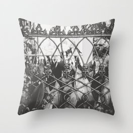 Skull Fence of New Orleans Throw Pillow