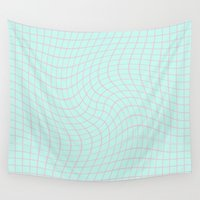 plain Wall Tapestries featuring Plain Graph: Pink by Jill La Corbiniere