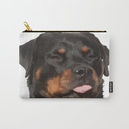 Cute Rottweiler With Tongue Out Carry-All Pouch