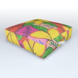 Tropical Plumeria Flowers Outdoor Floor Cushion