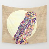 owl Wall Tapestries featuring Owl  by Jacqueline Maldonado