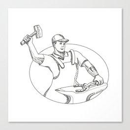 Farrier Wielding Hammer Oval Doodle Art Canvas Print