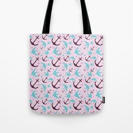 Swallows & Anchors Purple Tote Bag