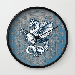 Noble House STEEL BLUE / Grungy heraldry design Wall Clock