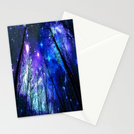 black trees purple blue space copyright protected Stationery Cards