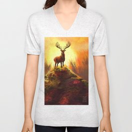 Stag Upon The Hill Unisex V-Neck