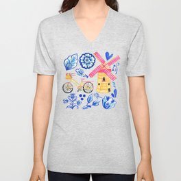 Netherlands Whimsy on Blue Unisex V-Neck