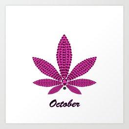 Birthstoned Leaf of Month, October Pink Tourmaline Art Print