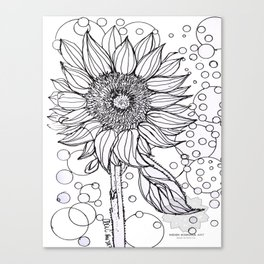 Sunflower Printable Adult Coloring Page|Letting go|Instant Download|Print Your Own|Floral|Mandala|Fl Canvas Print