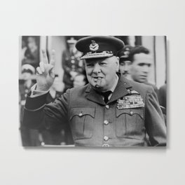 Winston Churchill Smoking Metal Print