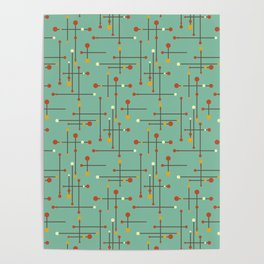 Pins and Needles Mid Century Modern Retro Green Poster