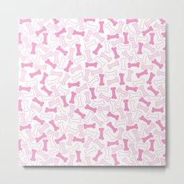 Kawaii Pink Bones Pattern Metal Print