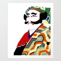 actor Art Prints featuring Kabuki actor vector by John Weaver