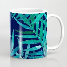 Watercolor Palm Leaves on Navy Coffee Mug