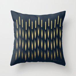 Navy Cattail Throw Pillow